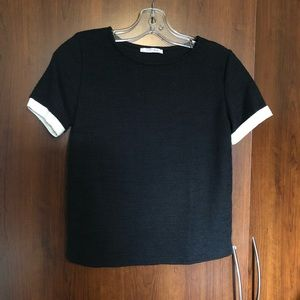 Zara Black and White Textured Tee M (Fits small)